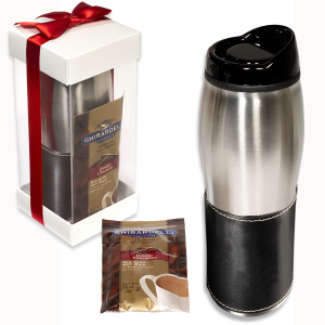 Leather-Wrapped 16 Oz. Tumbler with Ghiradelli® Hot Cocoa